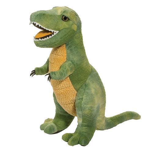 Green & yellow standing T-rex dinosaur stuffed toy with felt teeth