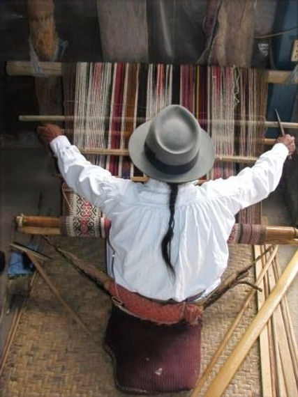 Otavaleño Miguel Andrango working his backstrap loom