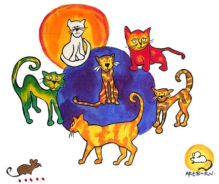 Brightly painted Cats design on pillowcase from Cats Pillowcase Painting Kit