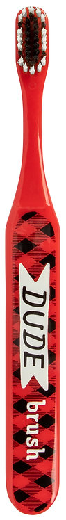front of red toothbrush-black&white bristles-buffalo-plaid pattern text 'Dude Brush'