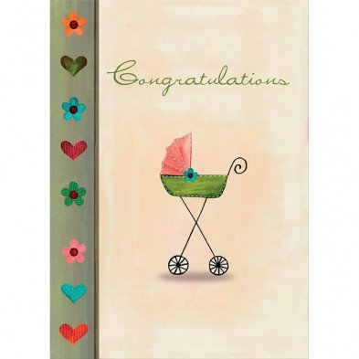 Tree-free Greetings Small Beginnings New Baby Card front reads Congratulations, old fashioned baby carriage, hearts & flowers