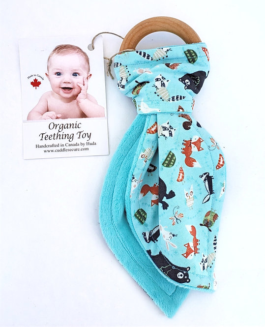 Wooden Teething Ring with blue animal print fabric tied on in shape of Bunny Ears