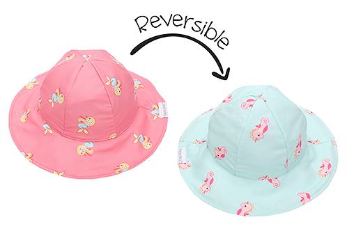 Flapjack Kids 2 in 1 Reversible Patterned Sun Hat - Mermaid / Seahorse both sides