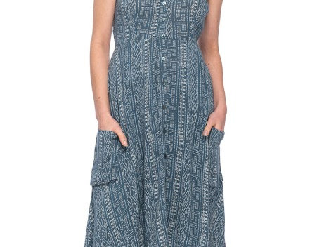 Model wearing steel blue V neck knee length sleeveless dress with button front & pockets