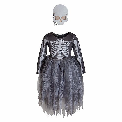 silver-gray children's costume dress with skeleton bone design on chest & back-skeleton mask