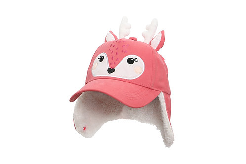 Coral Deer 3D Winter Cap with sherpa-lined earflaps turned down