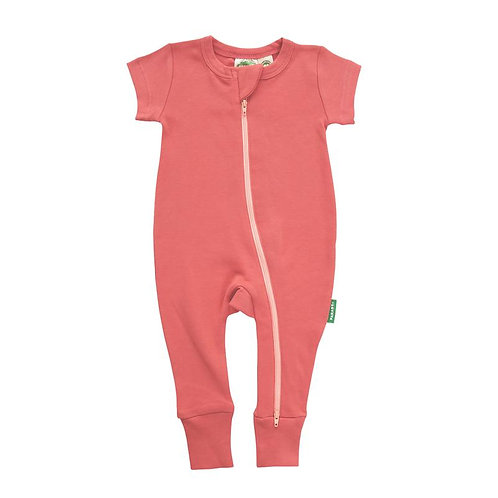 one piece short sleeve baby sleeper apricot-zipper from neck to ankle of 1 leg