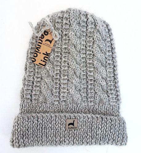 Peruvian Link Alpaca Hat, Trenza Cable Knit - silver gray