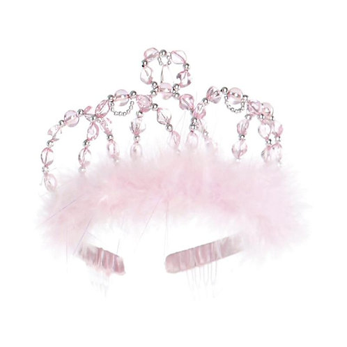 Fancy beaded tiara on plastic headband wrapped in pink ribbon and trimmed with pink marabou fluff
