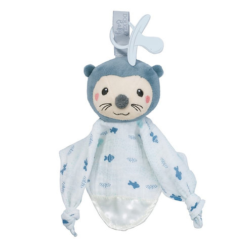 Blue & white cloth blanket toy for babies with stuffed otter head