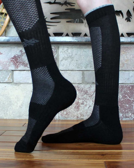 Peruvian Link Alpaca Wool Socks black and gray Extreme Sport side view