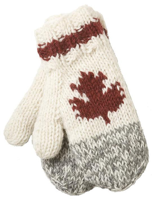Natural white knit wool mitts with gray & white blend tips-red band around cuff & red maple leaf on back of hand