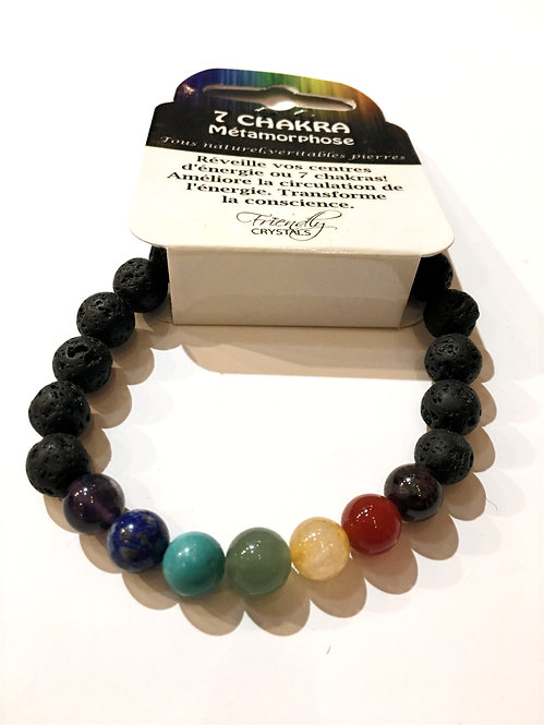 Close up of Lava Bead Stretch Bracelet - 6 colored beads representing chakra centers