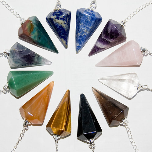 Nature's Expression Faceted Stone Pendulums