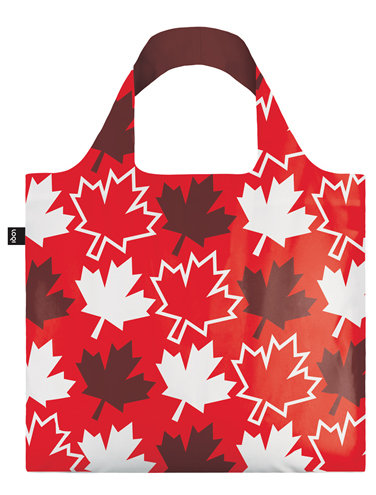 Loqi Reusable Tote Bag - red with burgundy & white Maple Leaves