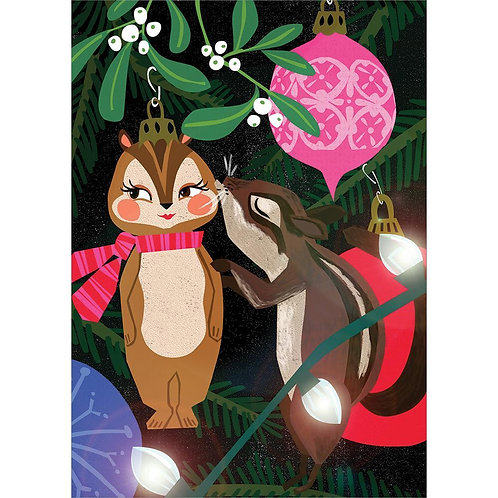 black card with 2 squirrel tree decorations kissing