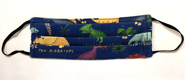 Small pleated protective mask colorful dinosaurs on navy background-black elastic ear loops, flat