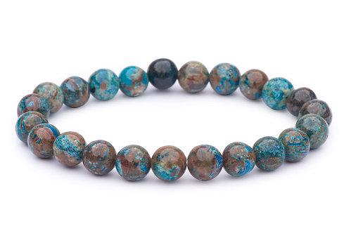 Chrysocolla stone bead stretch bracelet