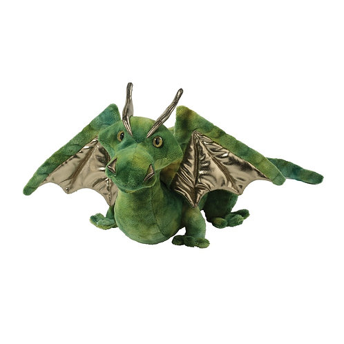 Green & gold stuffed toy dragon with out-stretched wings