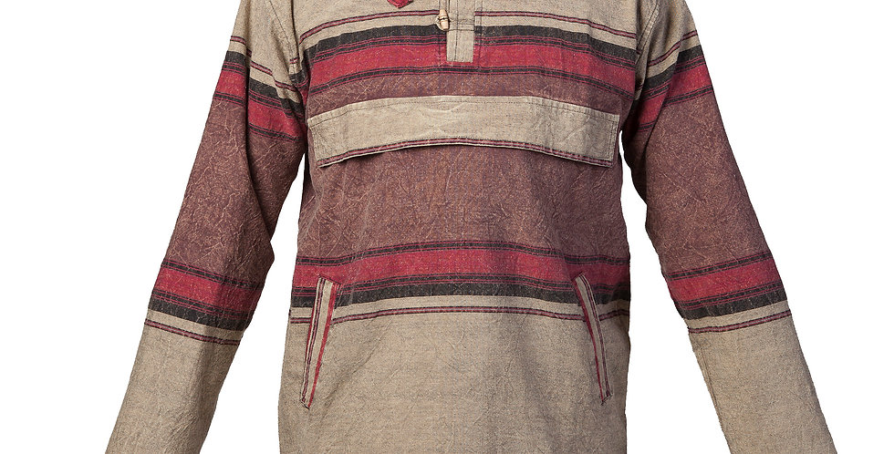 pullover cotton shirt with long sleeves and hood in wide brown and beige horizontal stripes