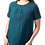 Woman modeling Olga Tunic Dress teal with short sleeves round neck A-line front gathers at neck 2 outer pockets with ties