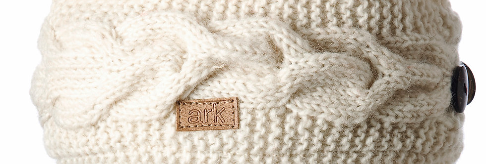 White cable knit wool headband