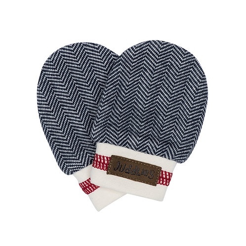 Dark blue herringbone baby mittens with white band & red stripe around cuff