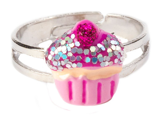 Child's cupcake ring - pink with sparkles and cherry on top