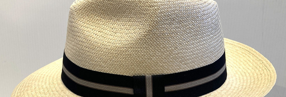 Left side view of natural-color Panama hat