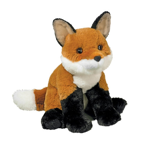Red-brown, white & black baby fox stuffed toy
