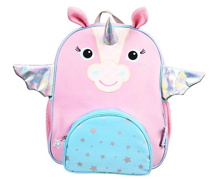 front view of kids' pink & blue backpack with white unicorn face on front, ears on top and silver wings on sides