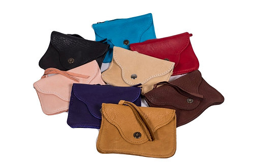 Group of  8 colors of Leather Coin Holders with zipper top, leather strip zipper pull and flap with snap on front