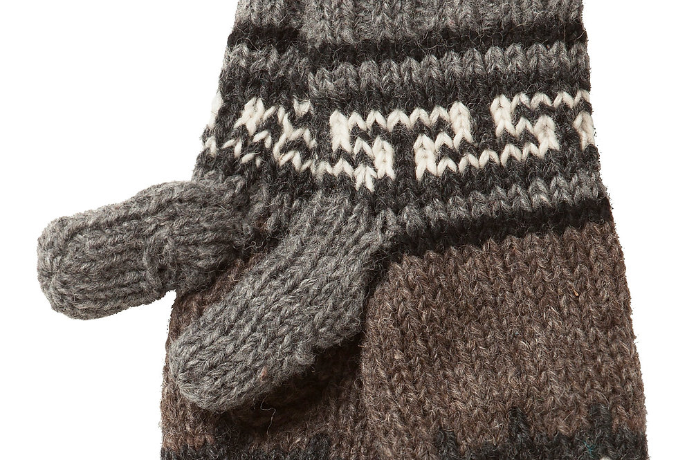 Ark Fair Trade Nanuk Texting Mitts-brown & gray with geometric patter in dark gray and white