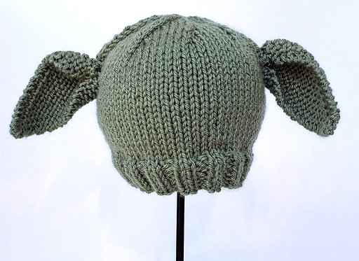 Green Hand Knit Infant Hat with large ears like Yoda