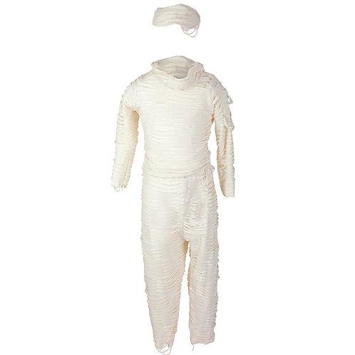 Beige mummy costume with gauze-like wrapped top, pant & head piece