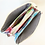 Top view of small colorful rectangular purse open to show compartments