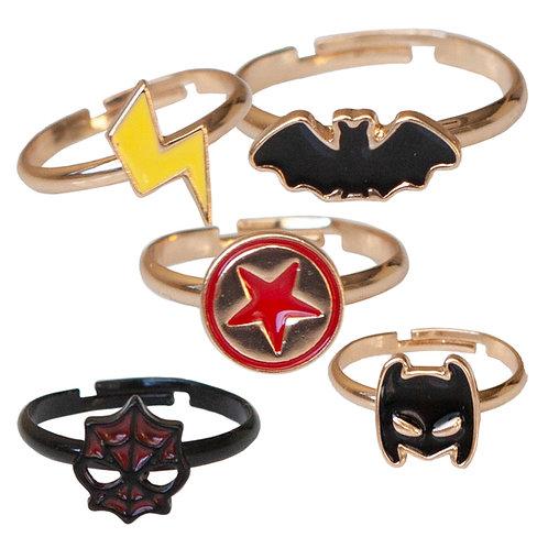 5 adjustable kids' rings yellow lightning bolt, black bat, red & black star, black Spider Man mask, black Batman mask