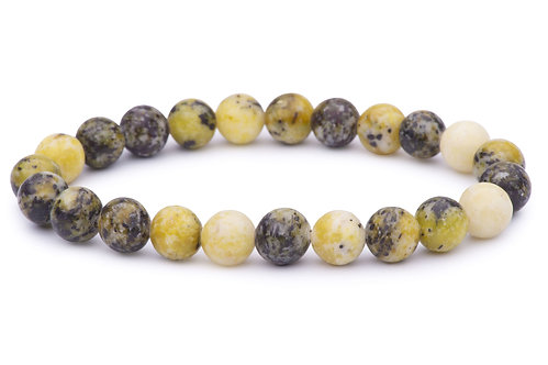 Serpentine stone bead stretch bracelet