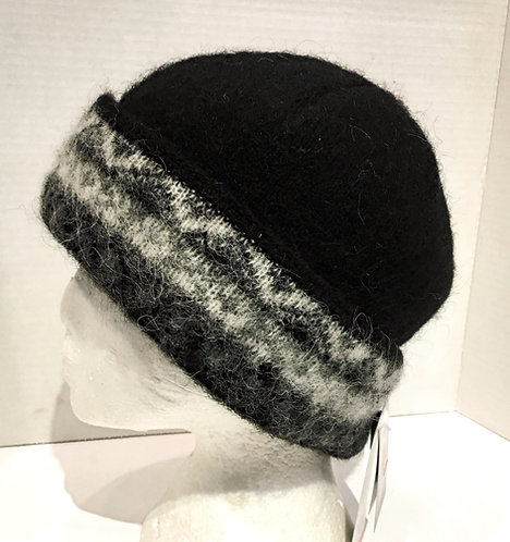 Solid black wool toque with gray white & black design on cuff