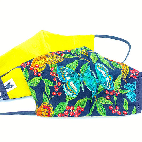 2 protective face masks-one bright colors butterfly print-the other solid yellow