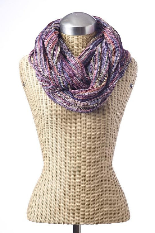 Mannequin with Ark Free Trade Magic Infinity scarf textured cotton in mauves and pinks and blues
