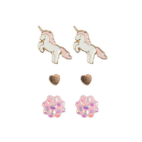 3 pairs of child's stud earrings-unicorns, hearts & pink flowers