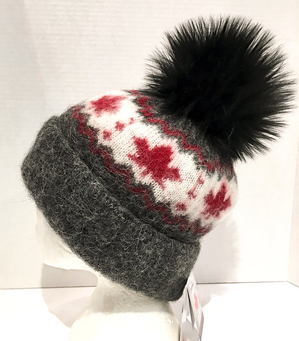 Gray wool toque with white stripe & red maple leaves around crown, big black pompom