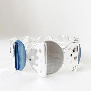 Blue Hand Painted Discs Bracelet
