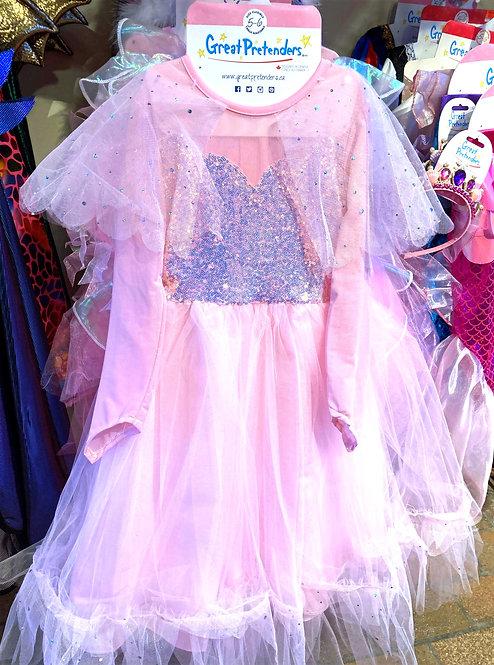 Fancy pink full-length sequined dress-up dress on rack
