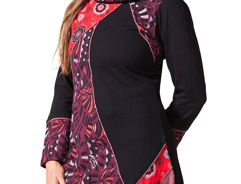 Model wearing long cowl neck tunic-long sleeves-asymmetrical handkerchief hem-part solid black, part red print