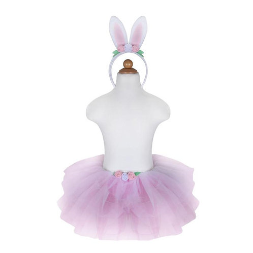 Mannequin showing multi-layered pink tutu with 3 roses at center waistband & matching Headband with pink rabbit ears