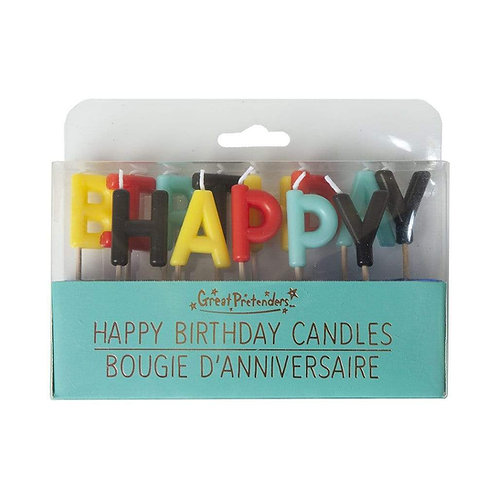 Aqua package of letter shaped candles spelling out HAPPY BIRTHDAY
