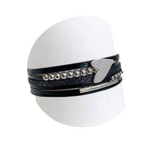 Angled side view of black multi strand bracelet with silver heart charm & beads