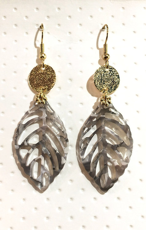 Pair of leaf-shaped tortoise shell earrings with round gold disk at top & gold ear wires